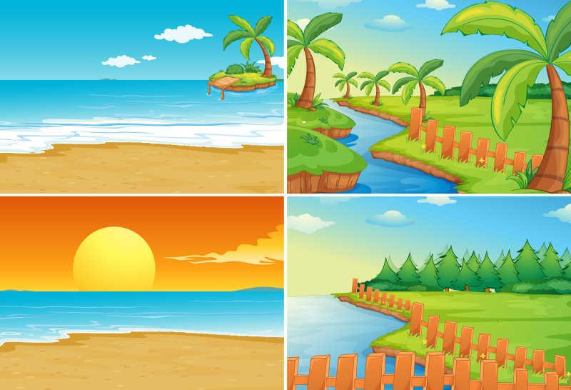 海滩和河流的自然风光矢量插图