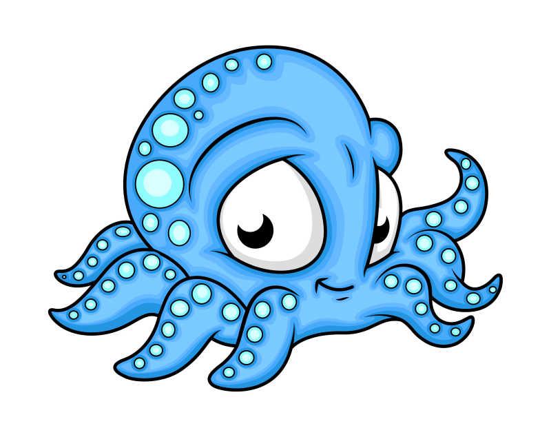 矢量可爱的卡通章鱼