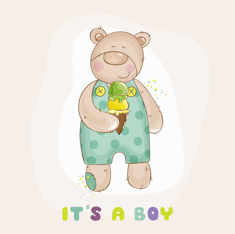 可爱小熊矢量形象