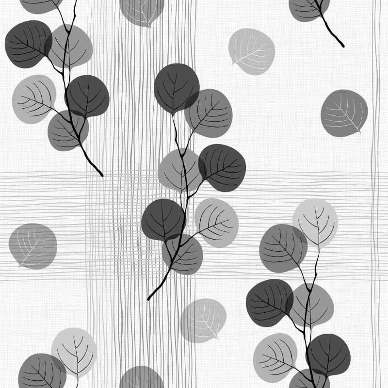 矢量单色手绘树叶图案抽象纹理图案