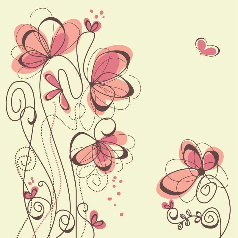 手绘简单花朵的矢量插图