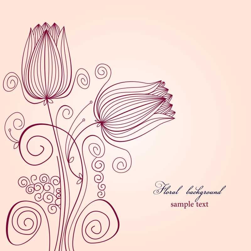 手绘线条花朵矢量装饰背景