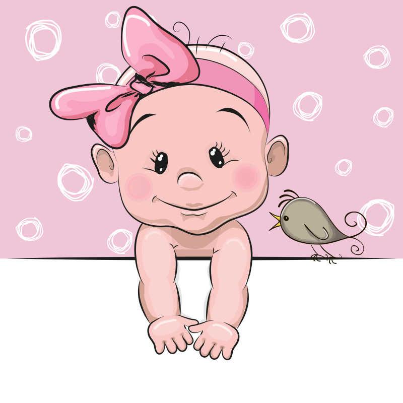趴着的可爱小宝宝矢量插画