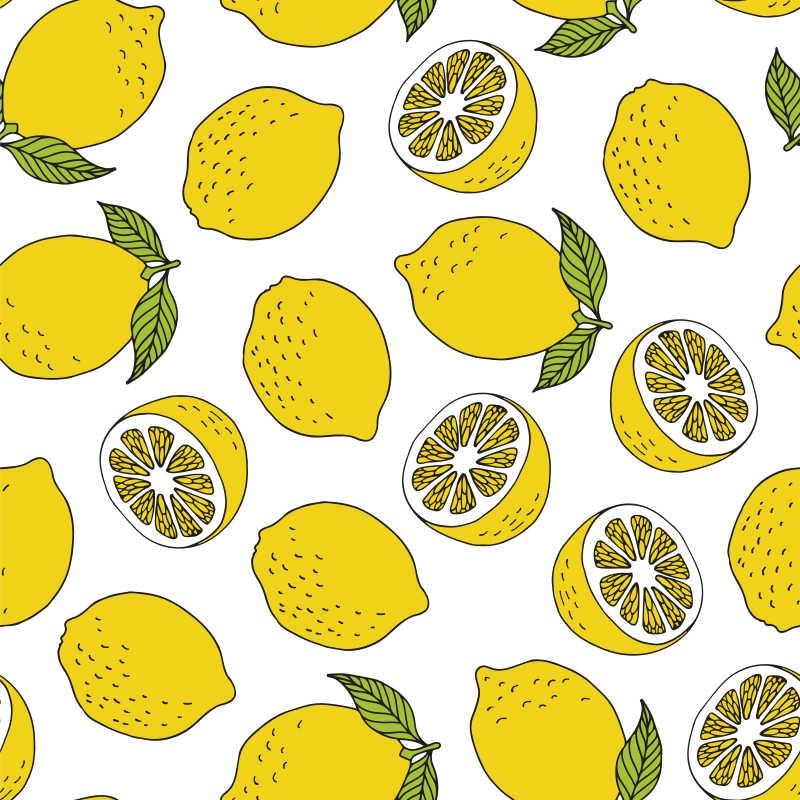 无缝柠檬手绘图案矢量背景