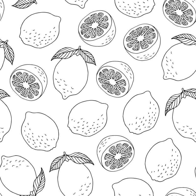 矢量创意手绘无缝柠檬图案