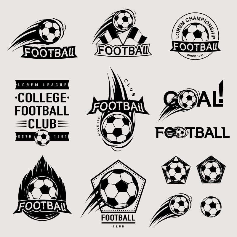 矢量复古足球徽章图标设计