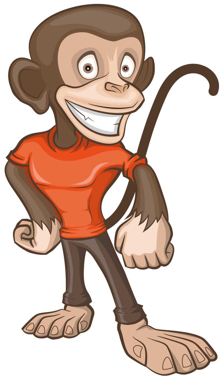 穿着T的猴子矢量卡通插画