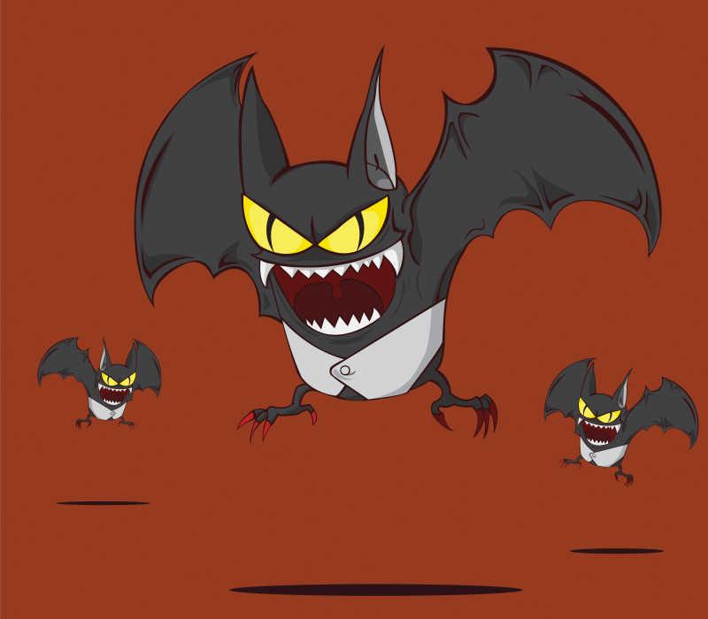 万圣节蝙蝠元素矢量插图