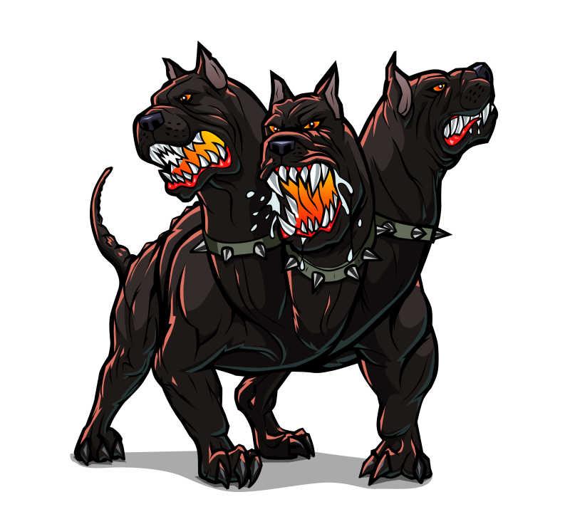 凶狠的地狱三头犬矢量插画
