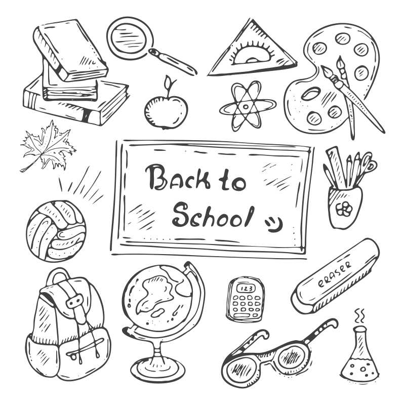 黑白回到学校矢量手绘图案设计元素