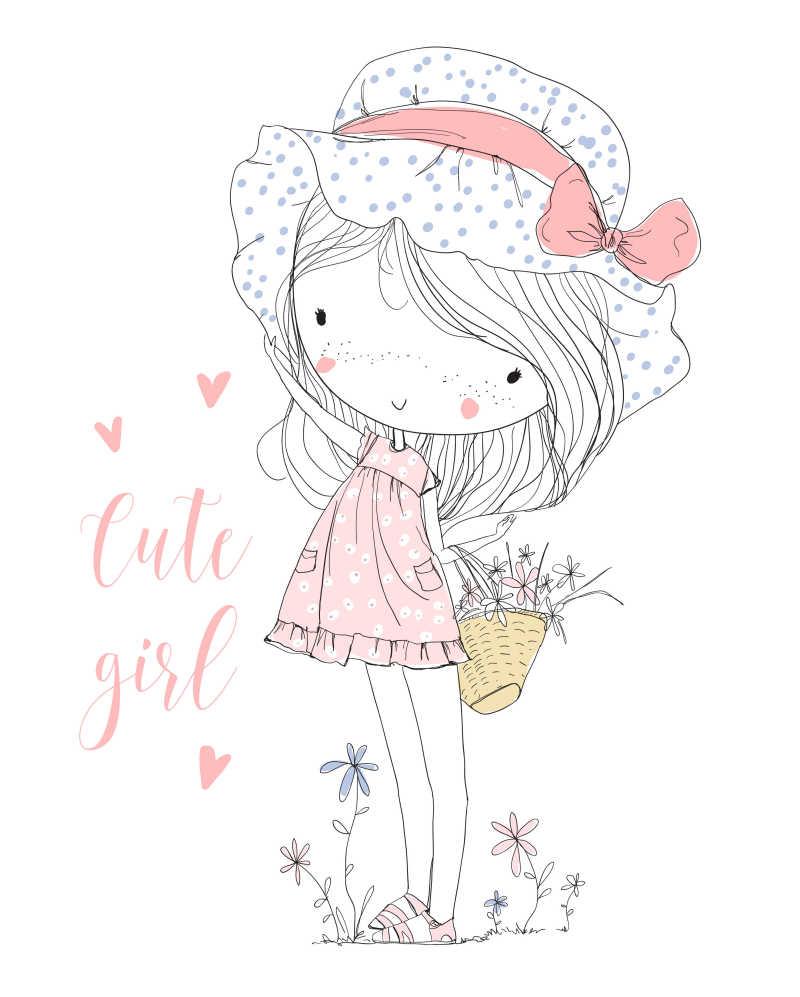 带着漂亮花边帽子的可爱女孩矢量插画