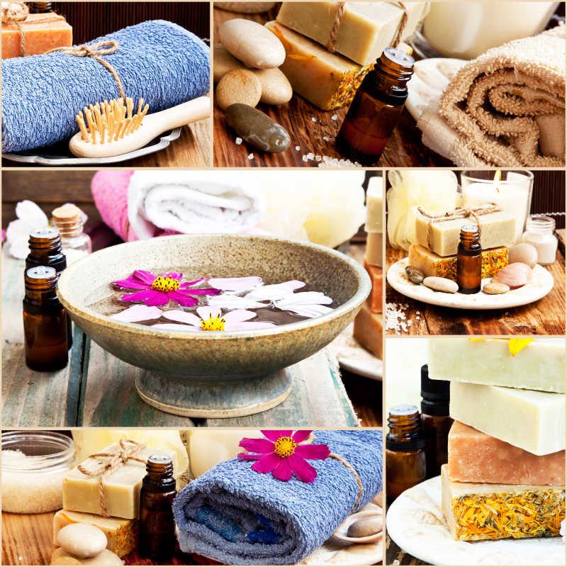 Spa所需精油天然肥皂和毛巾等护理用品