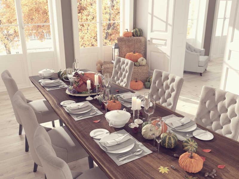 感恩节餐桌装饰概念