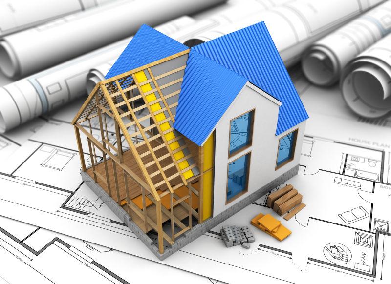 房屋建筑模型与设计蓝图图片素材_房屋建筑工程三维cg