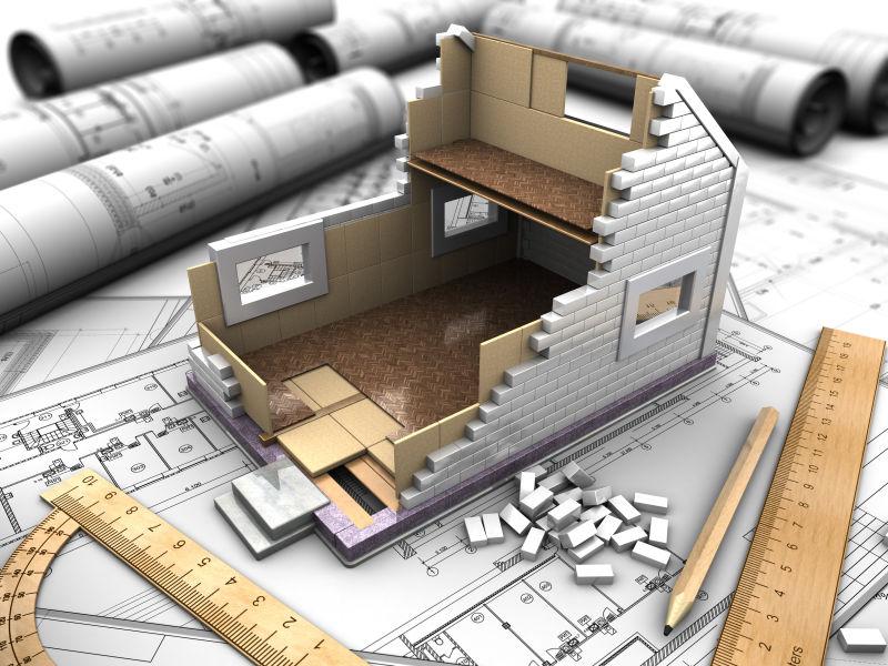 建筑工地立体模型图片素材_建筑施工概念和图纸的三维