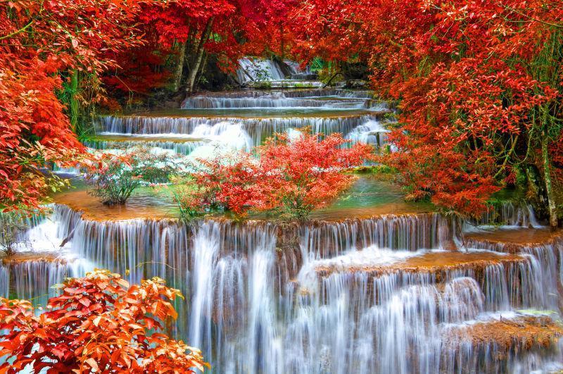 秋天森林里美丽的瀑布