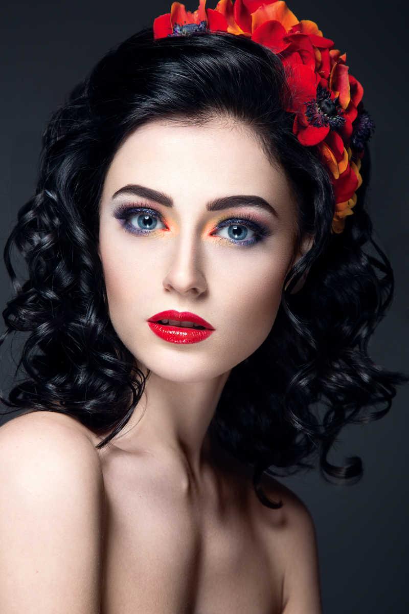 美女的红色嘴唇图片素材_化妆性感美女的红色嘴唇照片