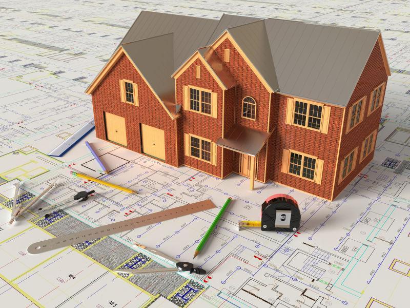 建筑图纸上的房子模型