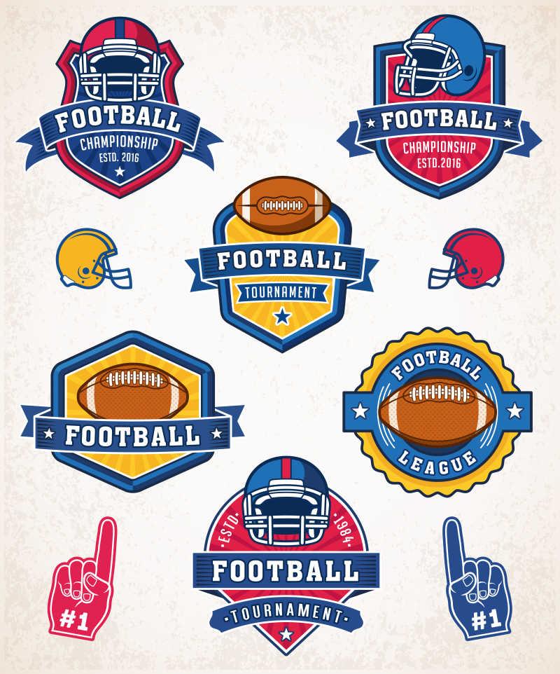 矢量美式足球标志徽章