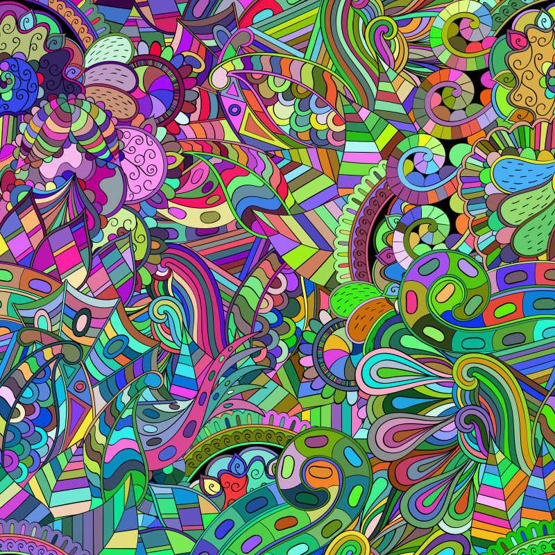 七彩的涂鸦风格创意矢量装饰图案背景图片