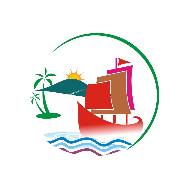 海岛旅游的矢量图标设计