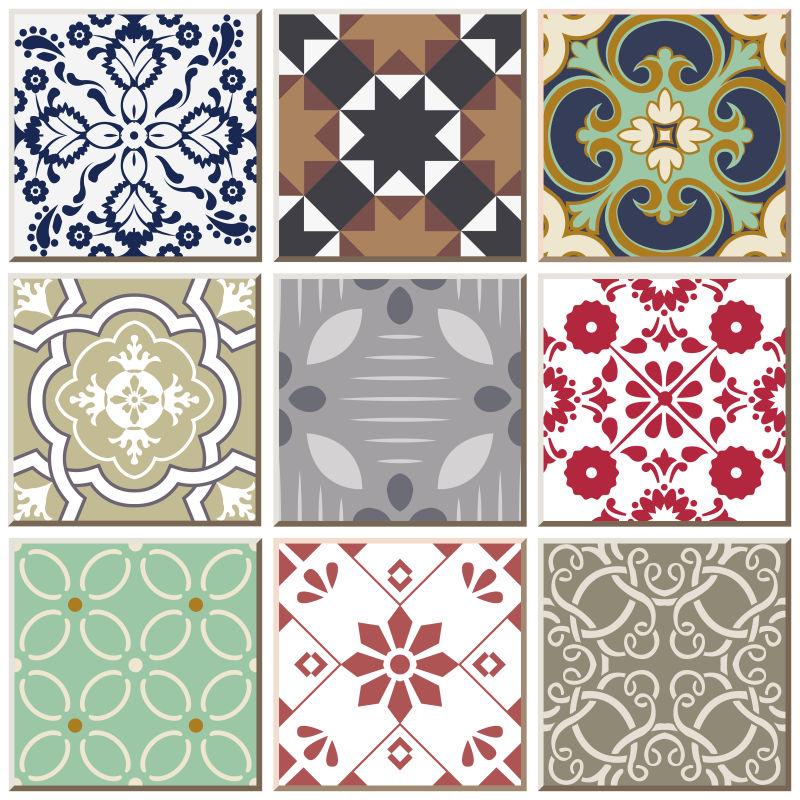 矢量创意彩色的复古瓷砖图案插图