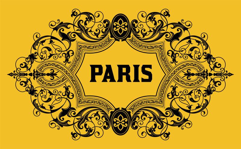 复古花纹的巴黎葡萄酒商标矢量模板