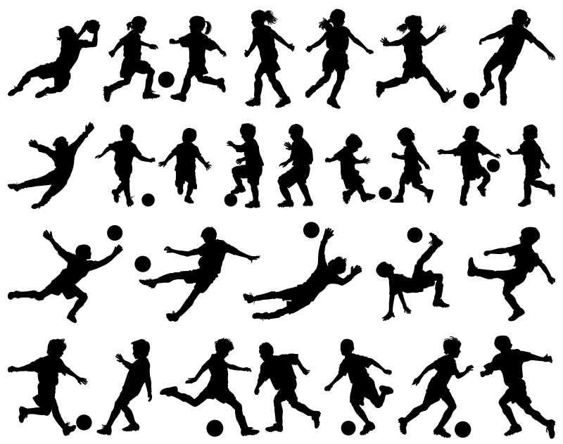 踢足球的孩子矢量剪影