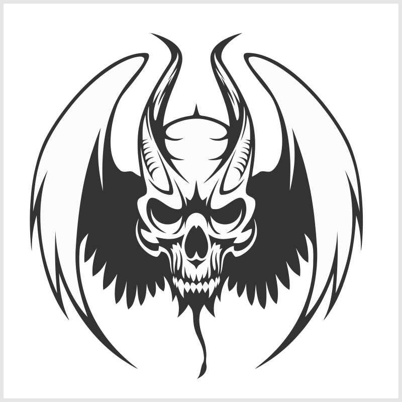 带翅膀的骷髅纹身矢量插图