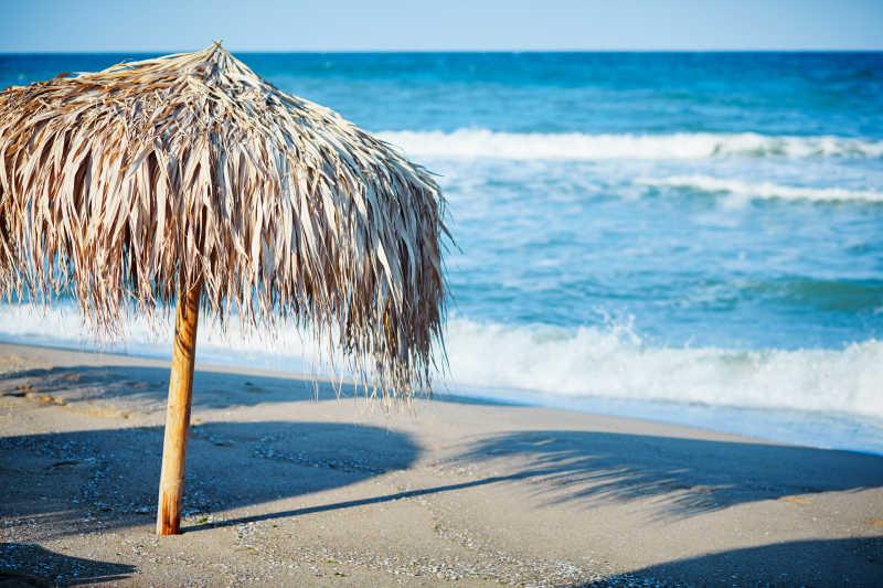 海滩上的茅草伞