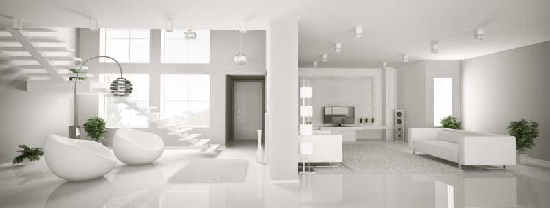 白色公寓室内客厅全景3D