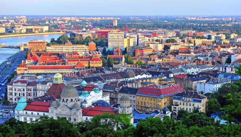 空中拍摄城市建筑
