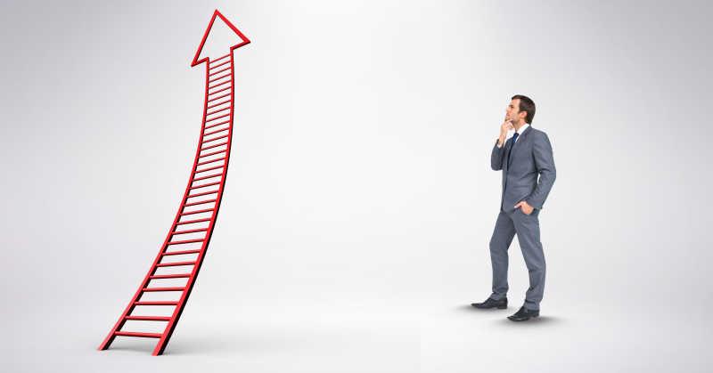 商业精英和上升的箭头