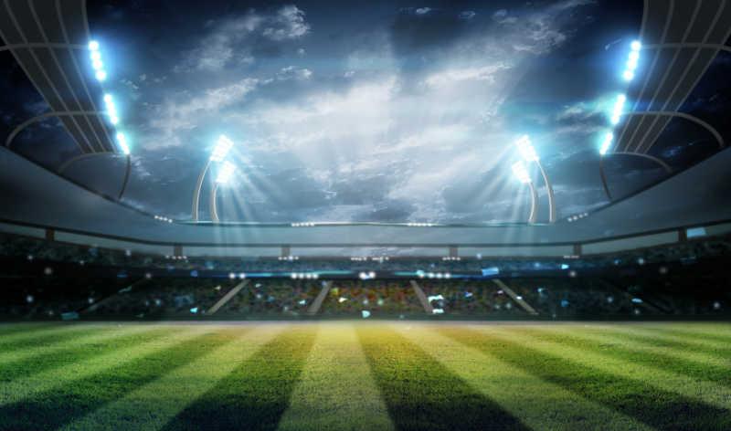 灯光在夜间和体育场三维渲染