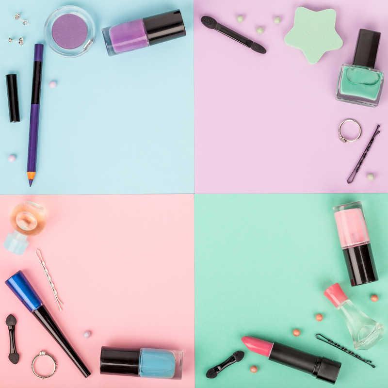 拼色背景下的专业装饰化妆品工具