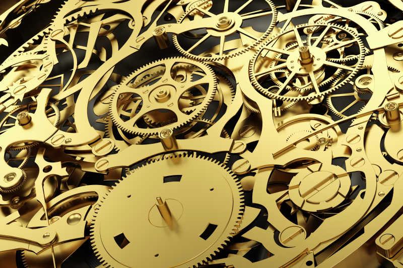 金色机制与工作齿轮的发条