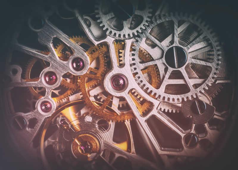 手表钟表的机制发条特写镜头