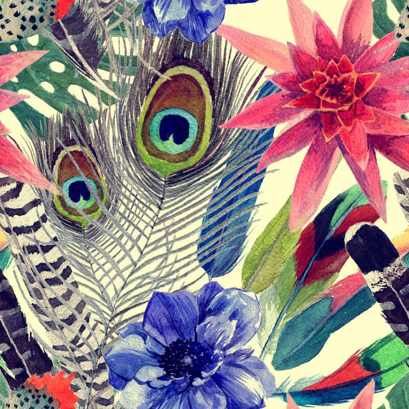 充满异国情调的鲜花和羽毛水彩画