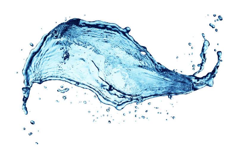 白色背景蓝色水飞溅