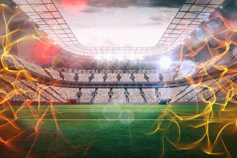 足球场和3d火的复合表现