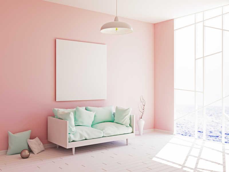 粉红色现代装修和墙上的空白框