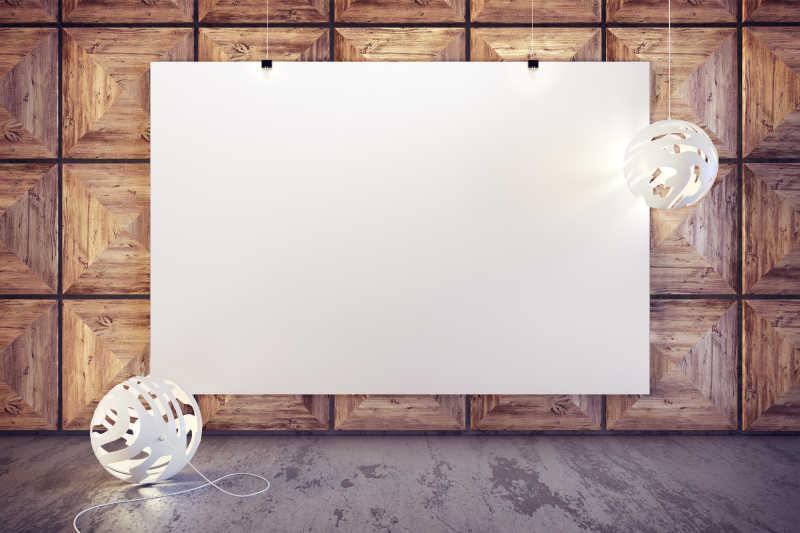 现代室内简约风格和空白海报