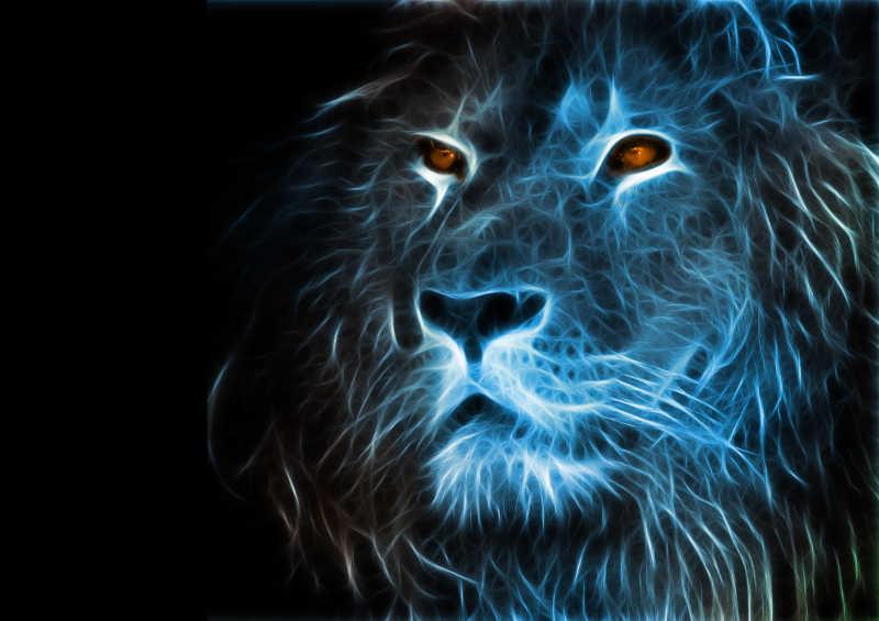 黑色背景下艺术狮子