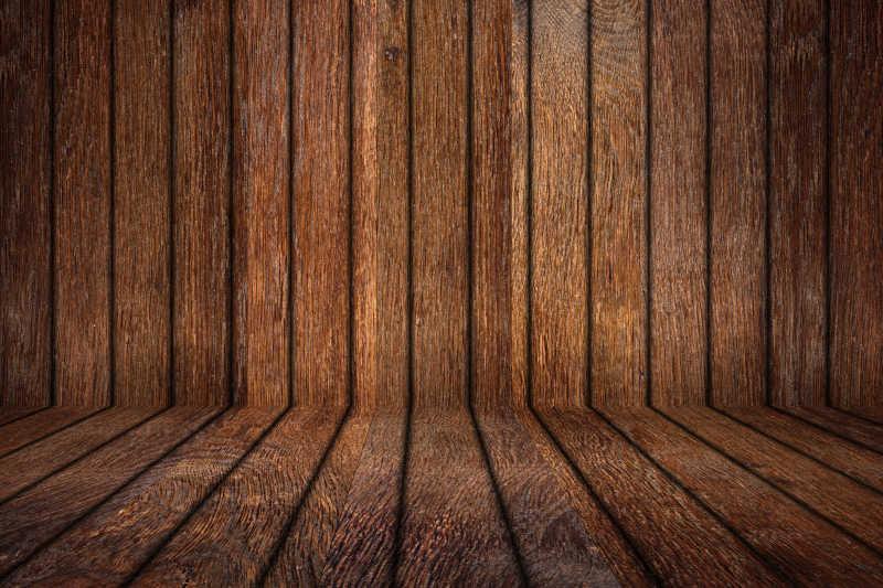 空的木房与质朴的老橡树木板墙和地板