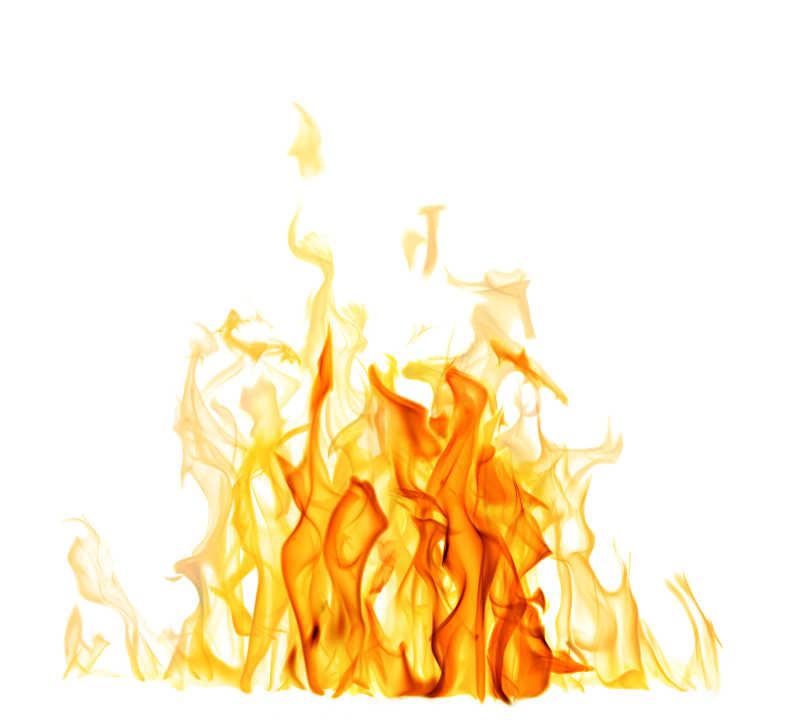白色背景上的淡黄色和暗黄色火焰