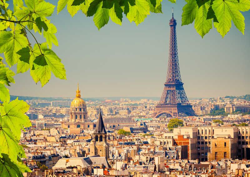 法国巴黎绿叶下的埃菲尔铁塔