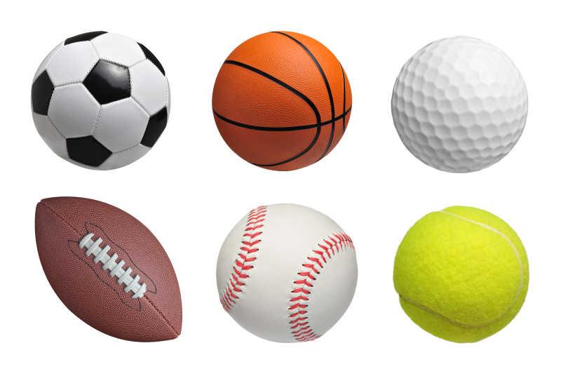 白色背景上的六种球类器材集合