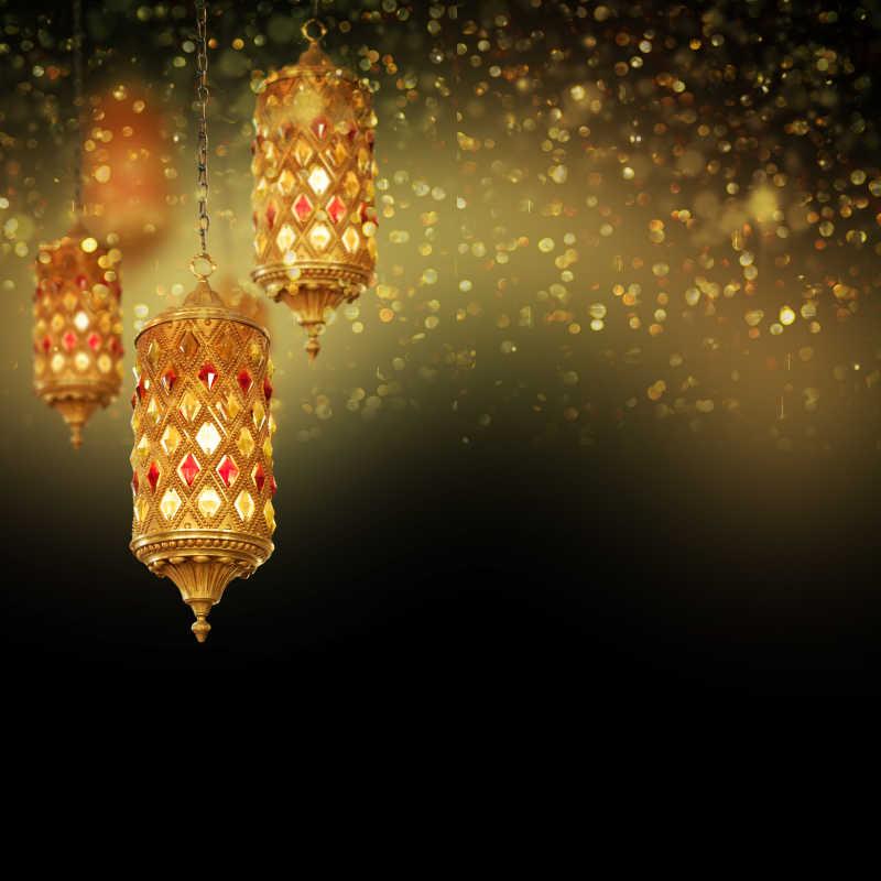 散发灯光的阿拉伯灯具