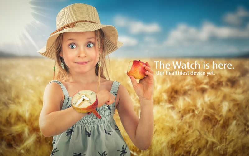 小女孩吃着苹果以及手腕上的苹果手表特写