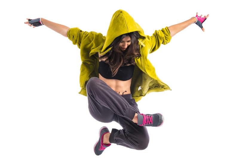 年轻的嘻哈女孩街舞特写